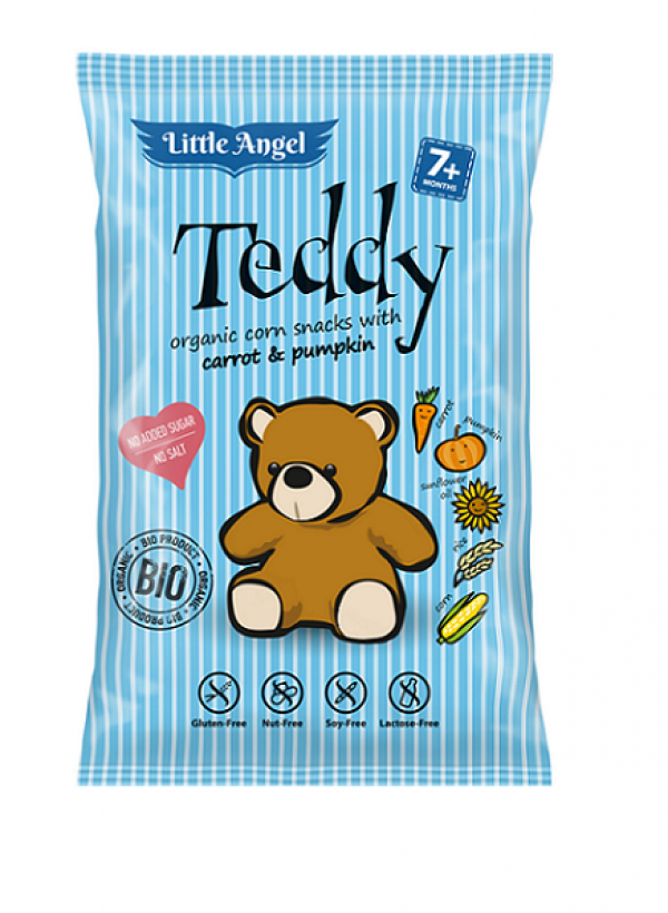 Chrumky kukuričné Teddy s mrkvou a tekvicou bio 30g