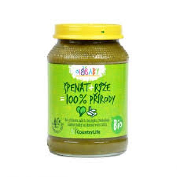 Detská výživa špenát, ryža BIO 190 g Country Life