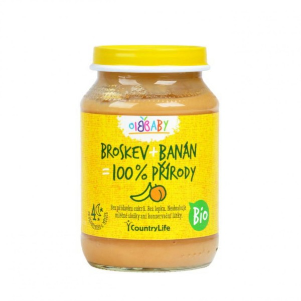 Detská vživa broskyňa, banán BIO 190 g Country Life